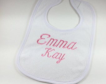 Personalized Terry Cloth Baby Bib, Monogrammed Terry Cloth Baby Bib, Embroidered Terry Cloth Baby Bib, Custom Baby Bib, White Baby Bib
