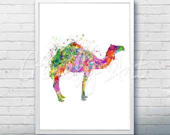 Camel Desert Watercolor Art Print  - Watercolor Painting - Camel Watercolor Art Painting - Wildlife Poster - House Warming Gift [2]