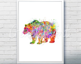 Bear Wildlife Watercolor Art Print  - Watercolor Painting - Bear Watercolor Art Painting - Wildlife Poster - House Warming Gift