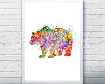 Bear Wildlife Watercolor Art Print  - Watercolor Painting - Bear Watercolor Art Painting - Wildlife Poster - House Warming Gift