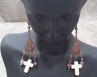 Lovely Anique Gold Cross Earrings