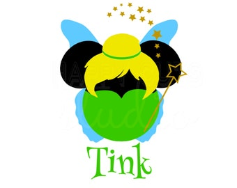 Personalized Tinkerbell Mickey Decal / Tinkerbell Iron On Pixie Dust Girl Party Theme  Disney Iron On Decal Vinyl 4 Shirt/Fish Extender 435