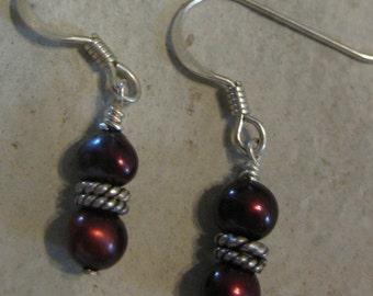 Deep red pearl earrings