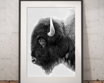 Buffalo Print, Bison Wall Art, Black and White Buffalo, Modern Minimal, Animal Photography, Printable Art, Instant Download, 18 x 24