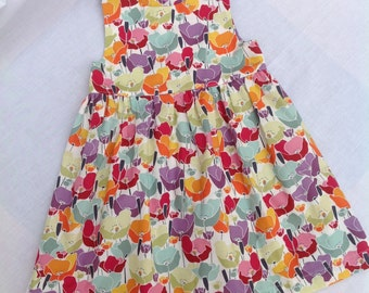 Baby girl dress, girls dress,  poppy print dress, girls clothing, baby girl clothing, age 18/24 months, handmade, one only