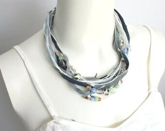 Upcycled Denim, Ribbon & Bead Necklace