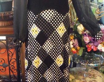 1960 Maxi (long)Black Polyester Knit Sunflower/Dot Dress