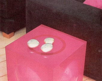 The original 60's style Lumicube in pink Perspex | retro lamp / side table | Lucite | Acrylic