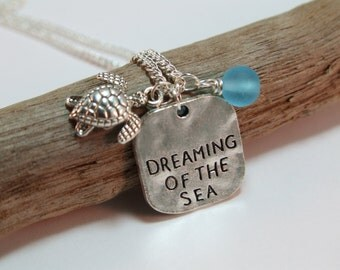 Dreaming of the Sea Necklace, Turtle Sea Glass Necklace, Sterling Silver Long Statement Necklace