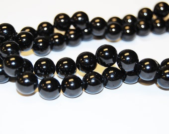 Natural Black Tourmaline Round Loose Beads Size 4mm/ 6mm/8mm/ 10mm/12mm. 15.5'' Long Per Strand.R-S-TOU-0333