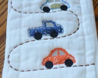 Burp Cloth  with Applique Cars