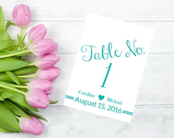 Printable Wedding Table Numbers Personalized InTiff Blue CWS106_18