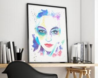 Seductive Eyes Watercolour Portrait