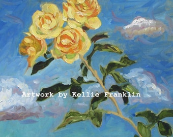 """Yellow Rose floral art print 8"""" x 10"""" by Kellie Franklin"""