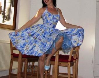 Pinup dress 'Eternal Flowers Cloud', PLUS SIZE AVAILABLE, gathered bust rockabilly dress, blue floral
