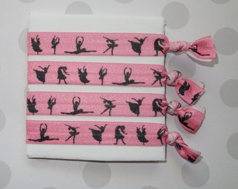 Pink Dancer Elastic Hair Ties