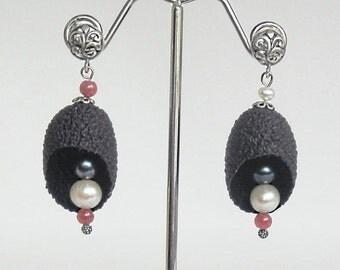 Extraordinary Dangle Black Genuine Silkworm Cocoons and Gemstones Earrings, Dangle Earrings, Black Earrings, Silk Cocoons Earrings