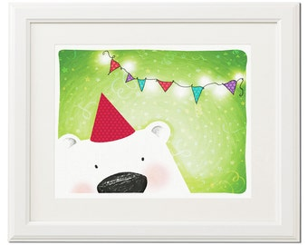 Party bear -Digital drawing-Nursery-Wall art-Birthday party-Poster-Green-Illustration-Printable-Download art