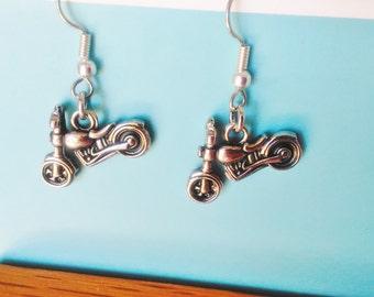 MOTORCYCLE EARRINGS,Silver Motorcycle Earrings,Motorcycle,Motorcycle Earring,Motorcycle Charm,Motorcycle Jewelry,DiDiGifts