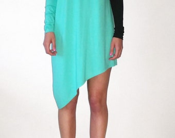 Asymmetrical Extra Long Sleeves Color Block Women's Tunic/Dress/High Low Designer's Blouse