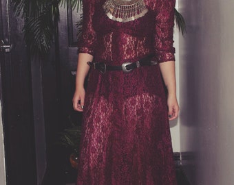 Vintage All That Jazz Burgundy Long Lace Dress
