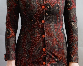 Vintage retro wool paisley red and black midi dress