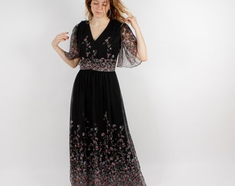 70' Black Floral Dress Maxi Dress Sleeveless Dress Flower Print Dress Boho Hippie Romantic Long Summer Romantic Dress Sundress Size Medium