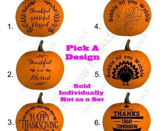Holiday Vinyl Decal, Pumpkin Decal, Porch Decor Vinyl Decal, Thanksgiving Decal, Many Options For these Holiday Decals