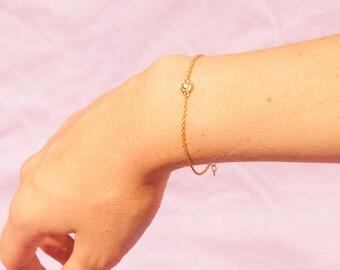 Tiny gold bracelet - delicate bracelet - thin bracelet - yellow gold bracelet - gold bracelet - cz bracelet - friendship bracelet - C1CB4248