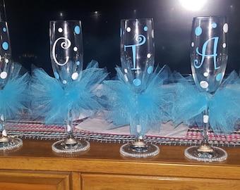 Personalized bridesmaid tutu glass