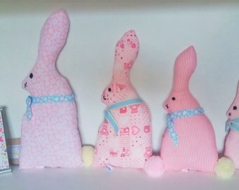 Set of 4 Whimsical Rabbits - Nursery/Childs room Decoration/toy