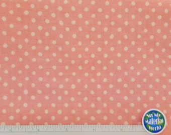 Peach Polka Dot Fabric. Dot Fabric, 100% Cotton, Quilting Fabric, BTY