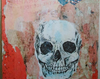 Handmade art/Ghost Town/decollage/Torn posters/skull/gift ideas