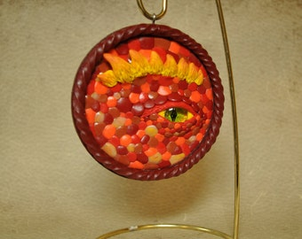 Red Dragon Eye Ornament, OOAK, Handmade Dragon Eye Sculpture, Dragon Eye, Christmas Ornament, One of a Kind, Fire Dragon Eye Sculpture