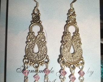 Chandelier Earrings w/Swarovski crystals