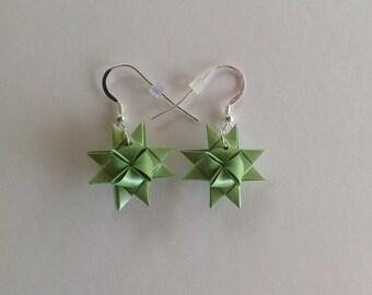 Moravian Star Earrings—Shimmer Green