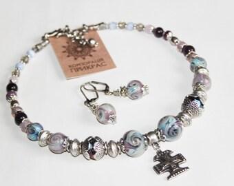 Grey necklace Lampwork necklace  Necklace with guardian cross s necklace Lamwokr beads flower Sort necklace (Ukrainian lampwork jewelry)