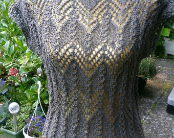 Knit top, Ajour relief pattern, taupe, size 36-38 (S-m)