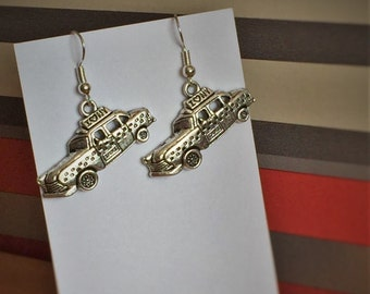 New York taxi souvenir dangle earrings, holiday earrings gift for her, hand crafted, New York cab novelty earrings