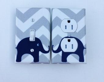 Gray and Blue Chevron Elephant Light Switch Plate - Elephants Light Switch Cover-Blue and Gray Nursery-Baby Boy Elephant Room-Boys room