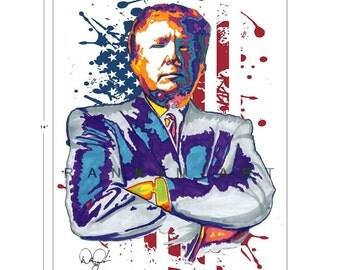 Donald Trump, 2016, 45th POTUS, 11x14 in, 29x36 cm, Signed Art Print w/ COA