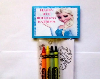 24 Sets Of Personalized Frozen Fever Birthday Party Favor Bags With Mini Coloring Pages And Crayons