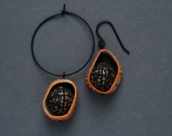 mismatch earrings with exotic nuts - boho jewelry - ethnic earrings - nature inspired