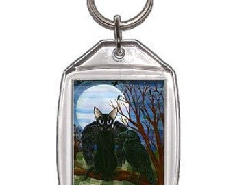 Black Cat Keychain Raven Moon Crow Cemetery Fantasy Cat Art Keychain Keyring Gifts For Cat Lovers