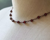 Matte Ruby Red Cultured Sea Glass and Antiqued Copper Necklace