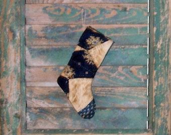 Small Stocking Ornament, Primitive Stocking, Primitive Christmas Ornament, Christmas Decor, Antique Quilt Stocking, Navy Blue Indigo White