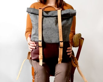 Leather and Waxed Denim Backpack, Roll Top Rucksack, Burgundy Leather Waxed Denim: ACE BACKPACK -Burgundy and Denim Awl Snap