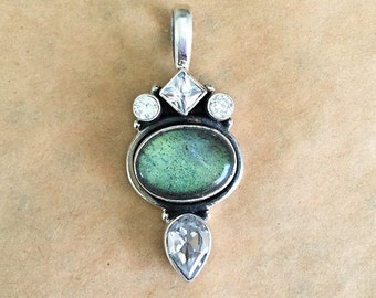 Labradorite, Rock Crystal and Sterling Silver Pendant (Item #P81)