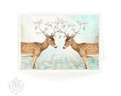 Deer card, Christmas card, Valentine card, love card, hearts, reindeer, antlers, white Christmas, snow, blue, white, berries, holiday card