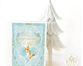 Deer card, Christmas card, holiday card, reindeer card, white Christmas, snowflakes, blue, gold, handmade card, vintage card, happy holidays